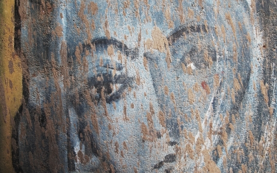 A scratched mural