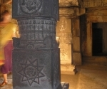 A carved pillar inside the Hemakuta Temple Complex