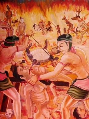 Scenes of a corporeal hell at the Peace Stupa, or Santi Chedi, outside Luang Prabang