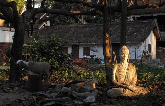 An emaciated Buddha catches the day's last light