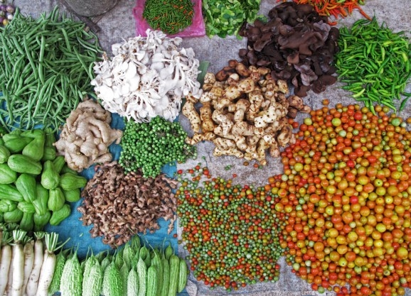 Vegetables and spices at Luang Prabang's morning market