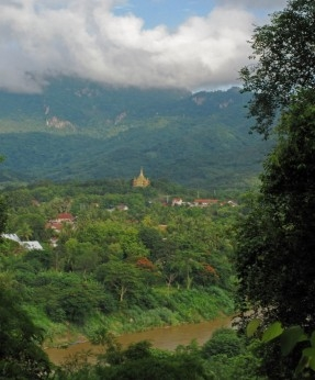 The Peace Stupa - Santi Chedi - seen from Phousi Hill