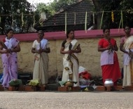 Women line up at Attukal Pongala