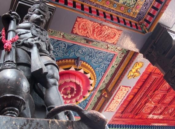 A statue of Hanuman, the monkey god, inside the Attukal Devi Temple