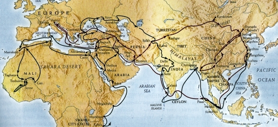 A map of Marco Polo and Ibn Batutta's routes through the Old World
