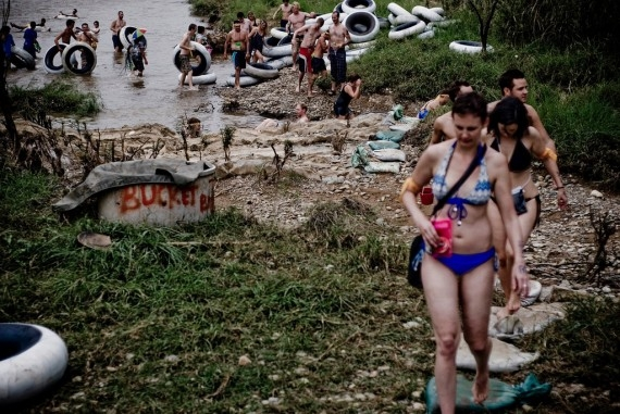 Tubers making their way out of the Nam Song River in Vang Vieng, Laos