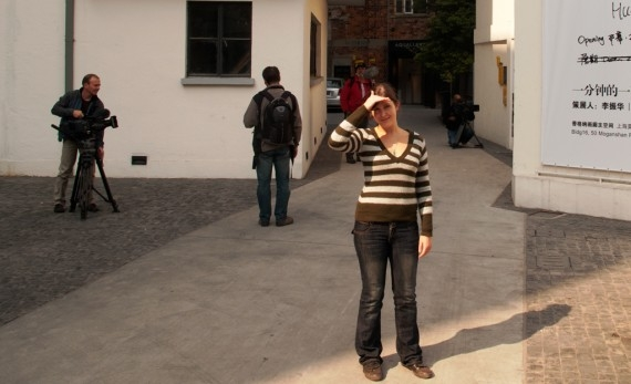 Claire and eTV's crew in Moganshan Lu's art zone