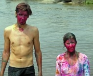 Claire and Iain post-Holi, in Hampi